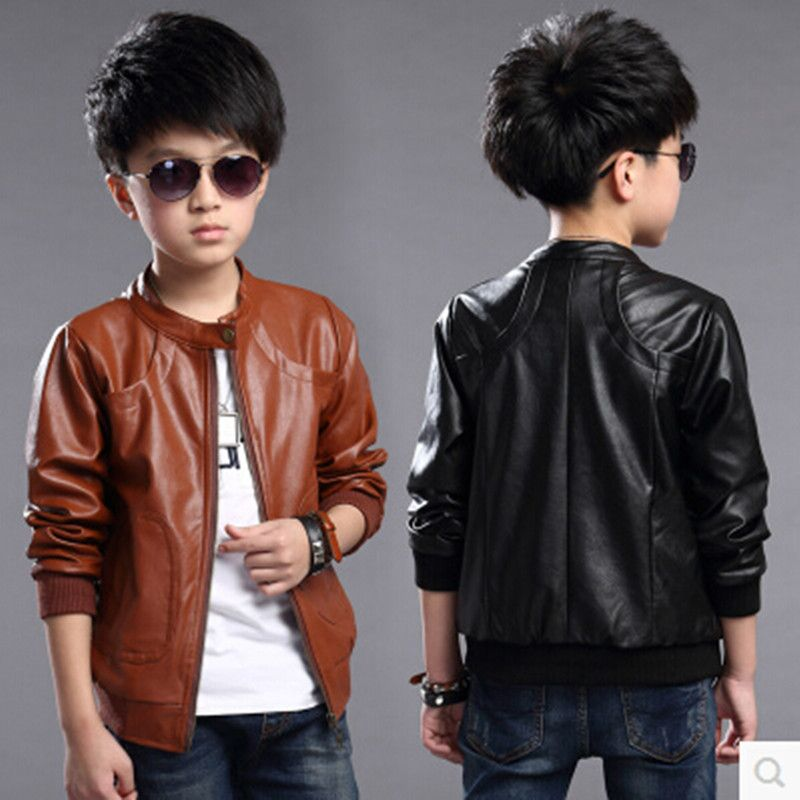 ac0a4be4a225 Click to Buy    2016 Spring Autumn Boys Black Leather Jacket Kids ...