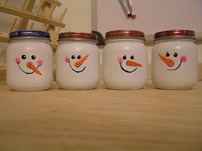 Baby Food Jar Snowmen Baby Food Jar Crafts Baby Jar Crafts Baby Food Jars Diy