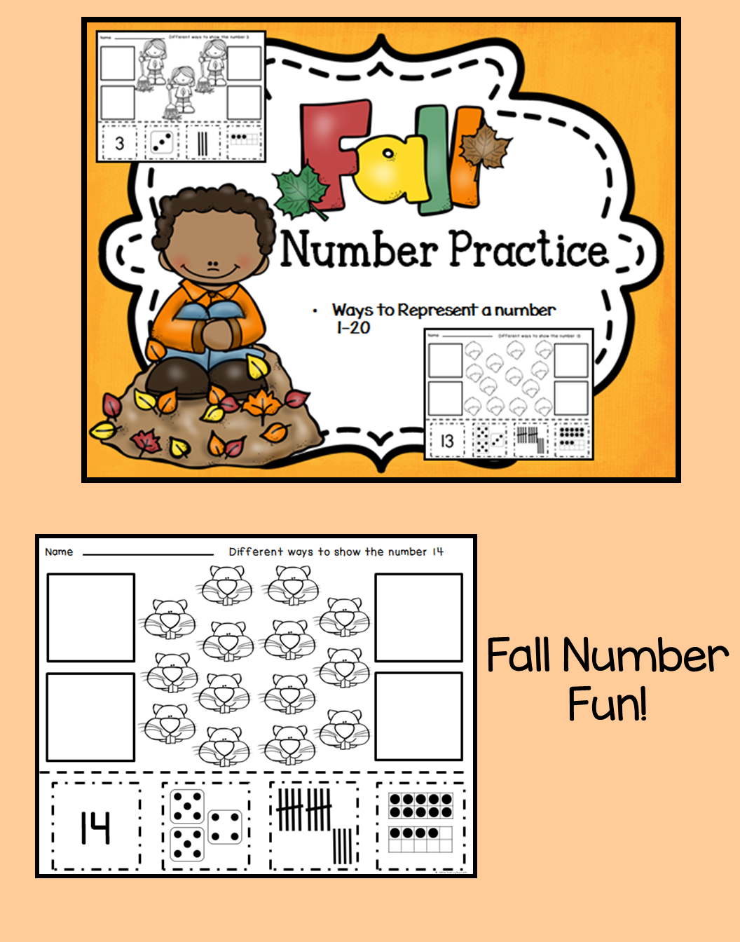 Fall Themed Number Representation Pages 1 20 This Set Of
