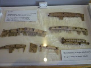Viking age combs in the Orkney Museum.