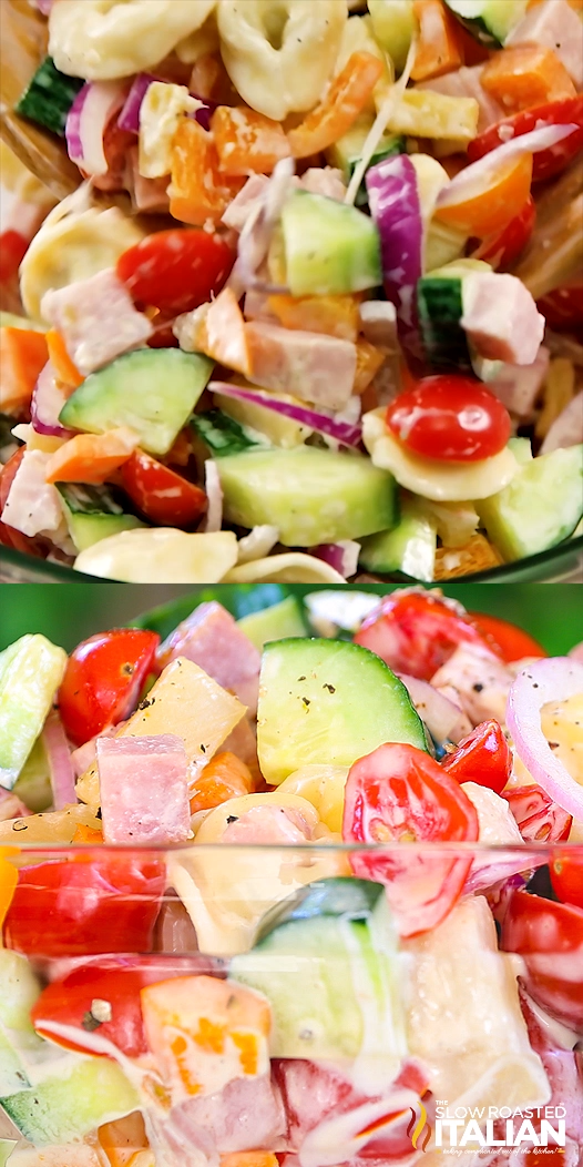 Hawaiian Tortellini Pasta Salad is a like a party in your mouth! It's a blend of your favorite island flavors in a fabulously bright, sweet and tangy summer pasta salad. A simple recipe with an outstanding pineapple-ginger dressing, this will be a hit everywhere you take it. #PastaSalad #Summer