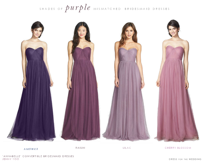 Get The Look Purple Mismatched Bridesmaid Dresses