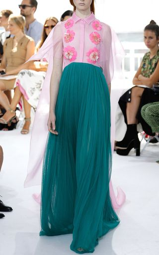 Embroidered Silk Tulle Long Dress With Feather Embellishment by DELPOZO Now Available on Moda Operandi