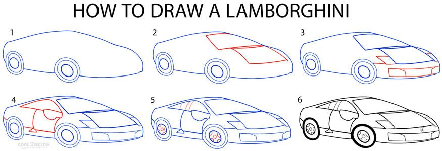 How To Draw A Lamborghini Step By Step Drawing Tutorial With