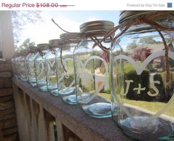 Mason Jar Wedding Centerpiece 18 Etched By EtchedExpressions 9720