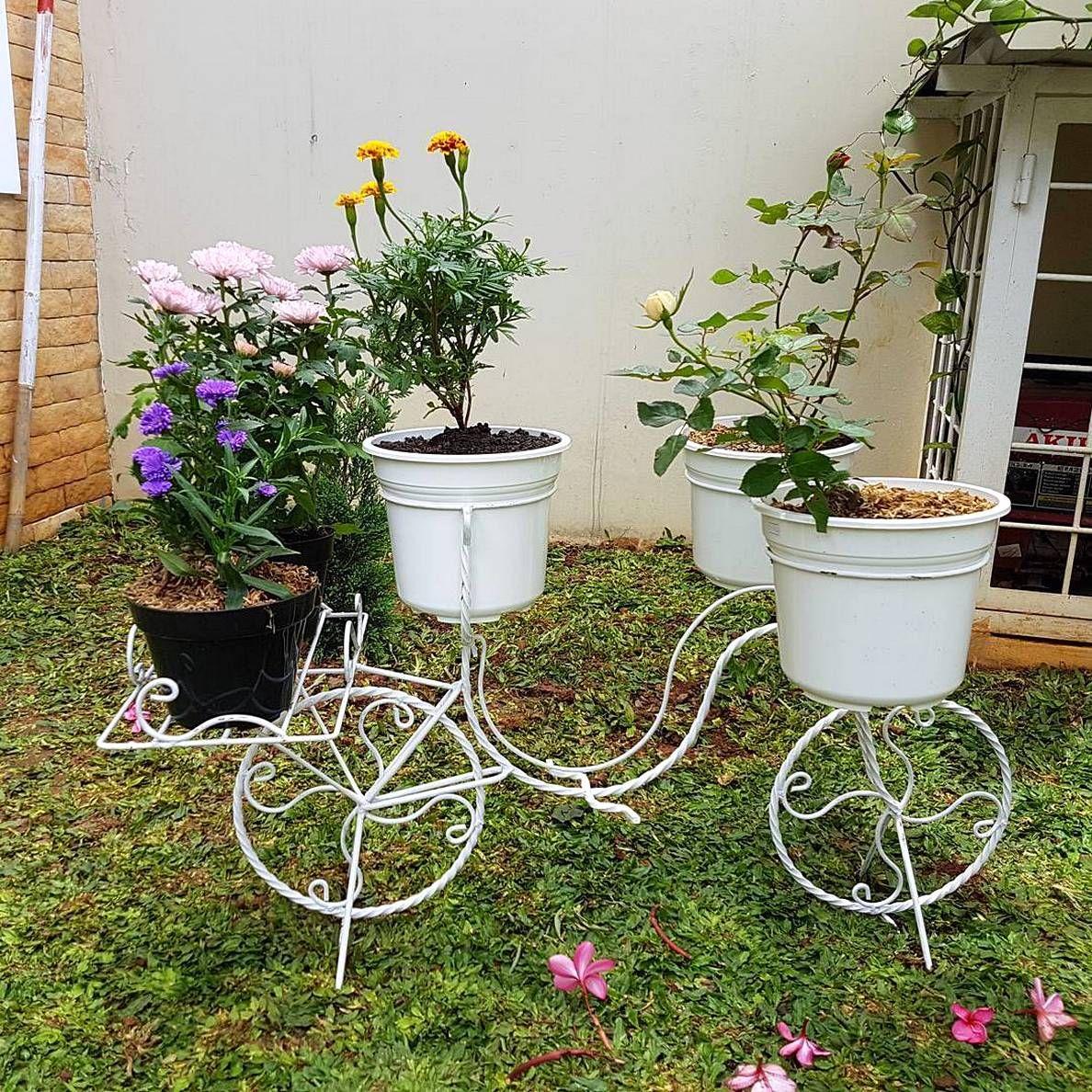 Taman Depan Rumah Dengan Pot Bunga Yang Keren Desain