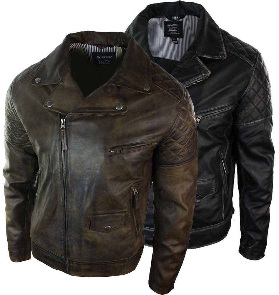 Mens Vintage Washed Brown Black Real Leather Biker Jacket Cross Zip