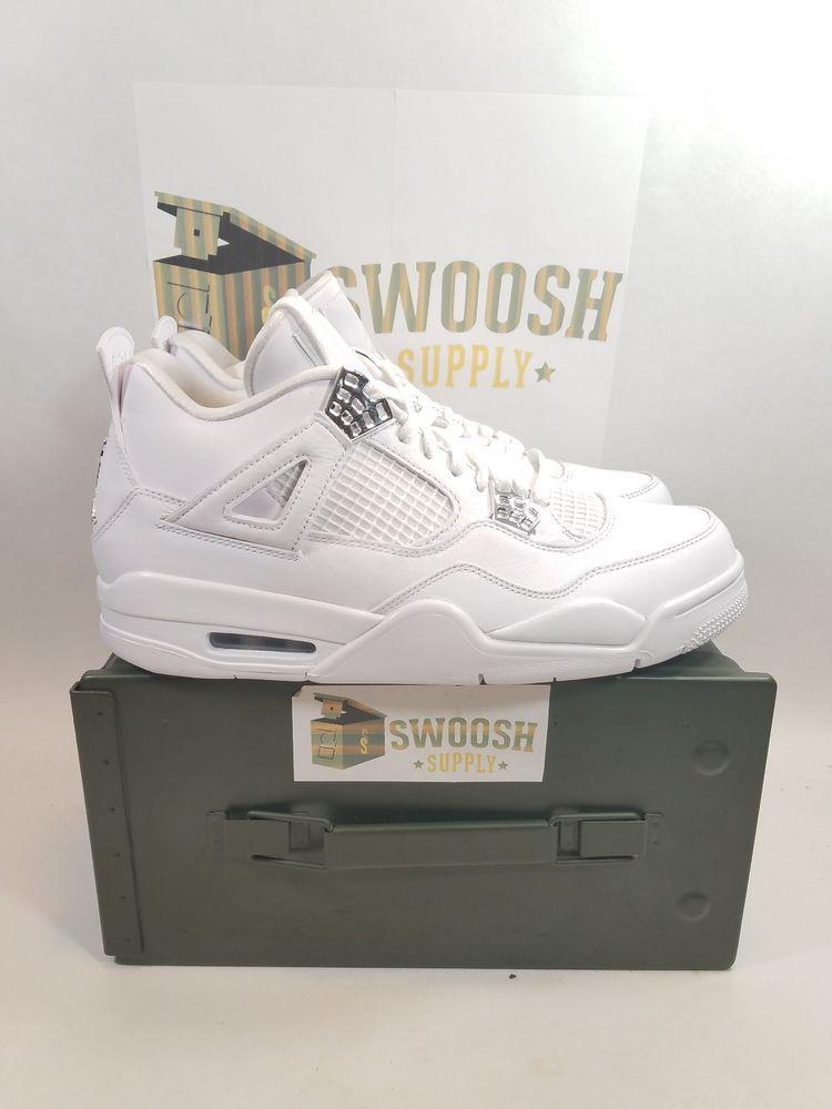newest 9ae28 83879 NIKE AIR JORDAN IV 4 PURE MONEY WHITE METALLIC SILVER SZ 9.5 308497 100   Nike