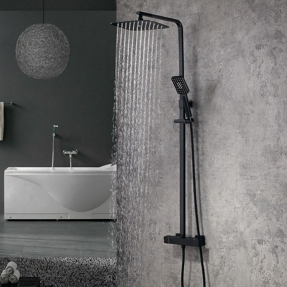 Modern Exposed Thermostatic Shower Faucet Matte Black Square Rain