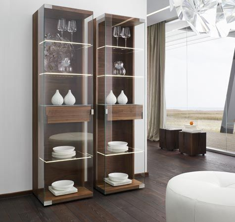 Stylish wood and glass nox display cabinets by team 7 no - Glass display units for living room ...