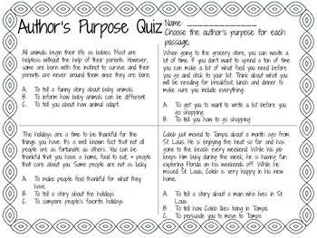 Author's Purpose Quiz   Teaching reading   Authors purpose