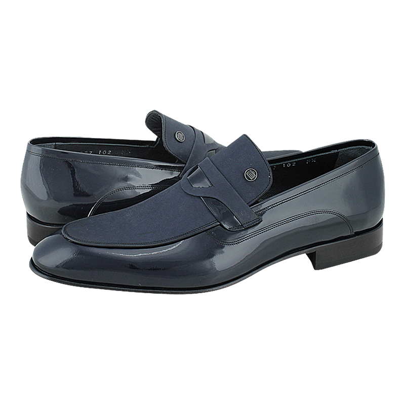Mesken - Guy Laroche Men's loafers made of patent leather and nubuck with leather lining and leather outsole.  Available in color Black and Blue.