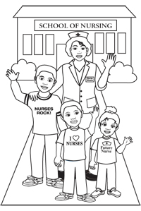 School of nursing Coloring page Free Gift from Nurse