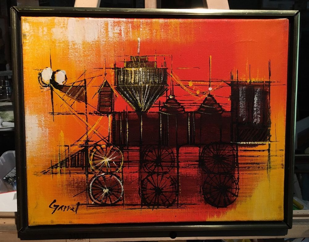 Vintage Mid Century Painting Abstract Train Terrific Colors Signed ...