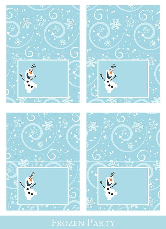 Frozen Tent Cards, Foldable Food Cards Printable, Tent Cards