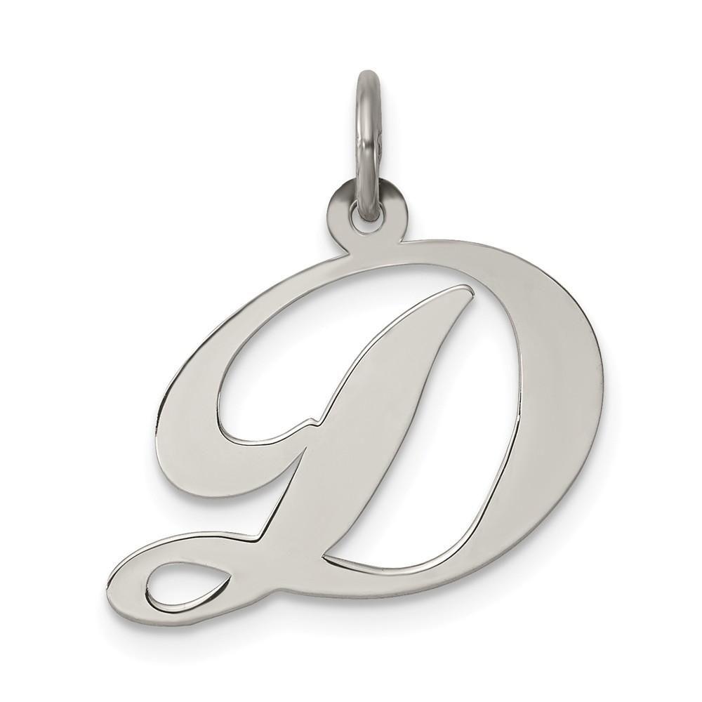 Fancy Letter C Pendant Cursive Alphabet Initial Charm 14K White Gold