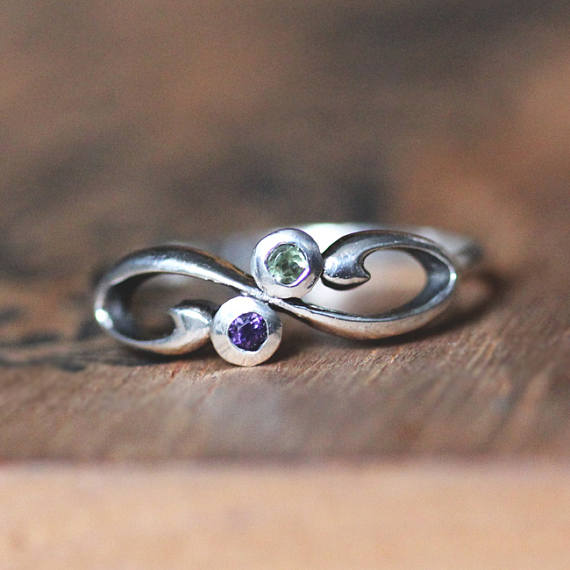 This Unique Infinity 2 Stone Birthstone Ring Is A Beautiful Way To