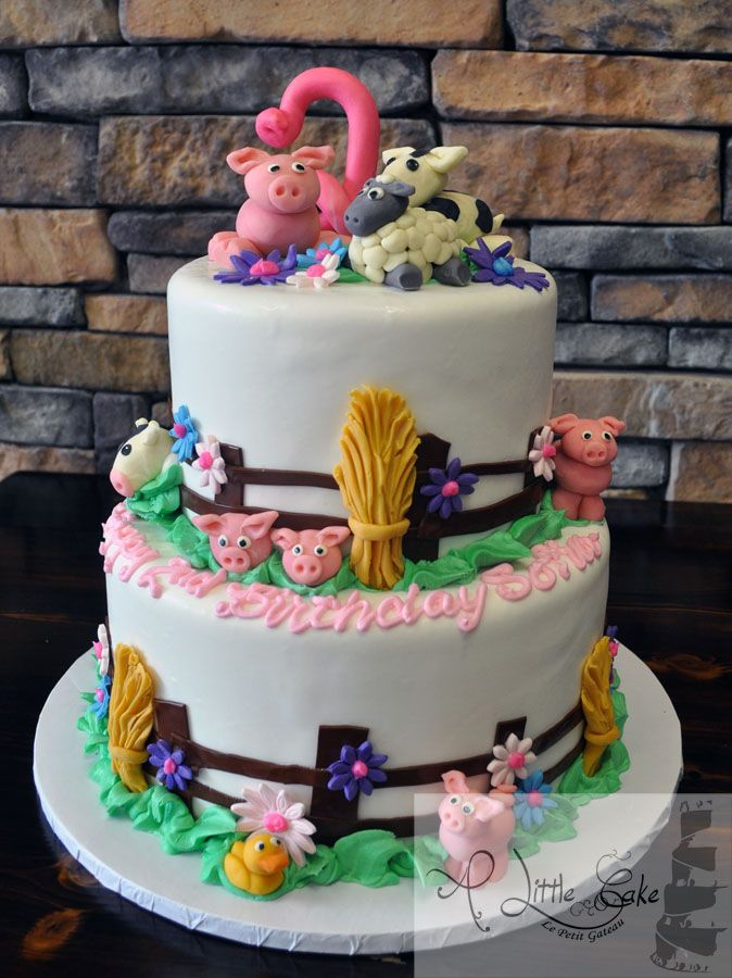 2nd Birthday Farm Animal Themed Cake