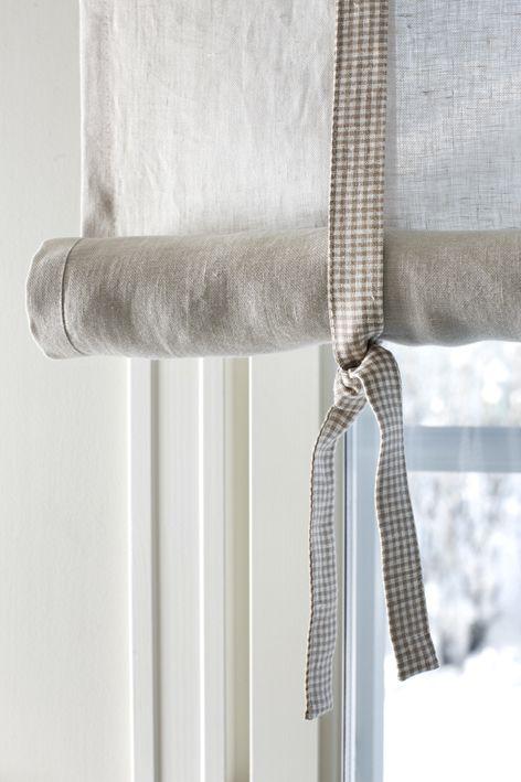 Pellavalaskosverho/Eurokangas Rolled Linen Curtains