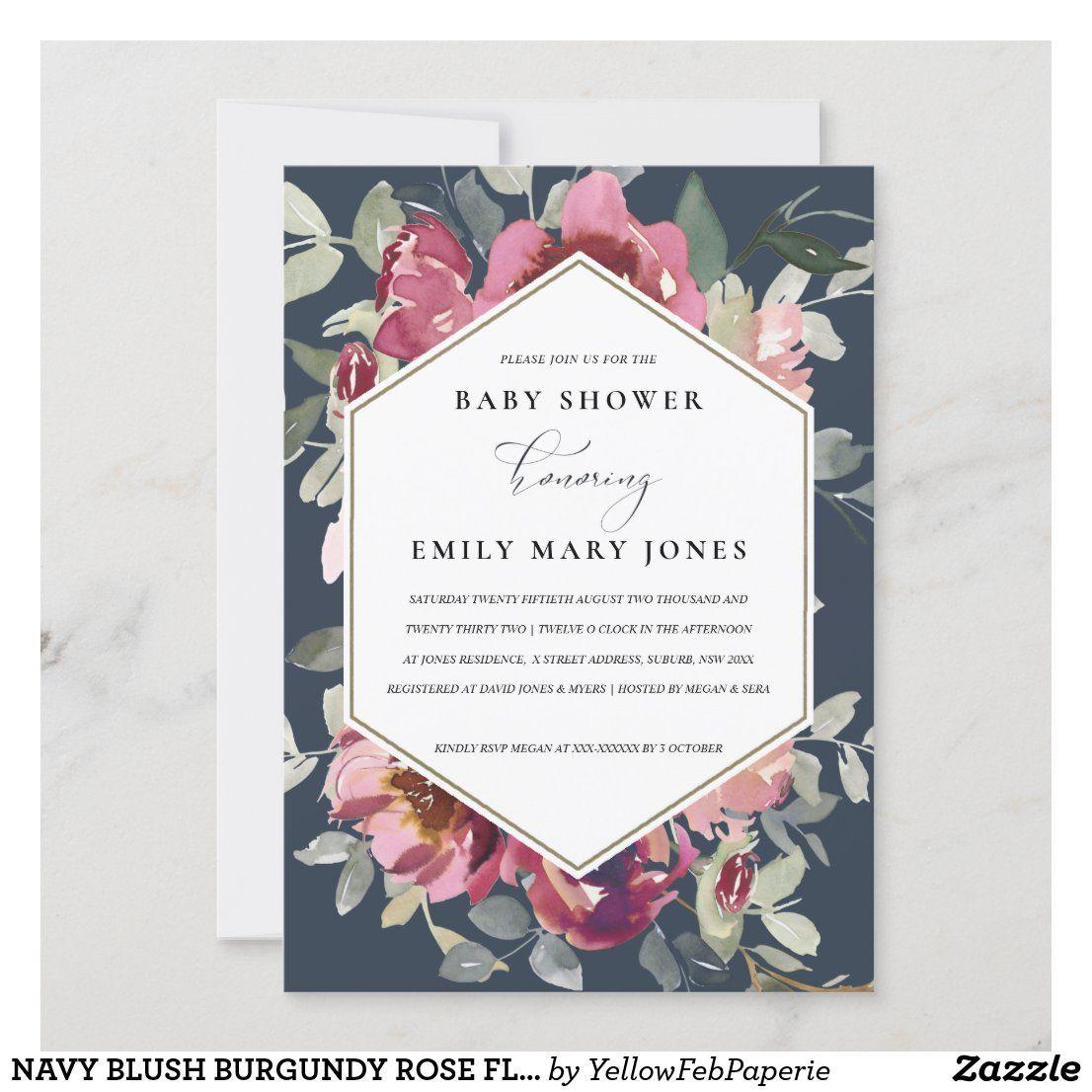 NAVY BLUSH BURGUNDY ROSE FLORA BABY SHOWER INVITE | Zazzle.com in 2020 |  Bridal shower invitations, Rustic bridal shower invitations, Floral wedding  invitations