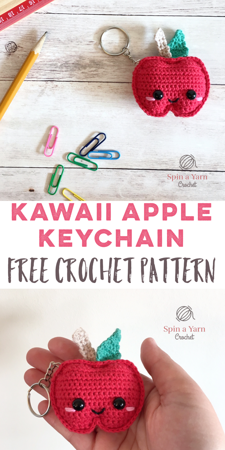 Kawaii Apple Keychain Free Crochet Pattern | amigurumi | Pinterest ...
