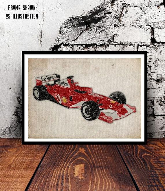 Ferrari f2004 f1 formula 1 racing car michael schumacher rubens barrichello grand prix sports a4 watercolour print home decor michael schumacher