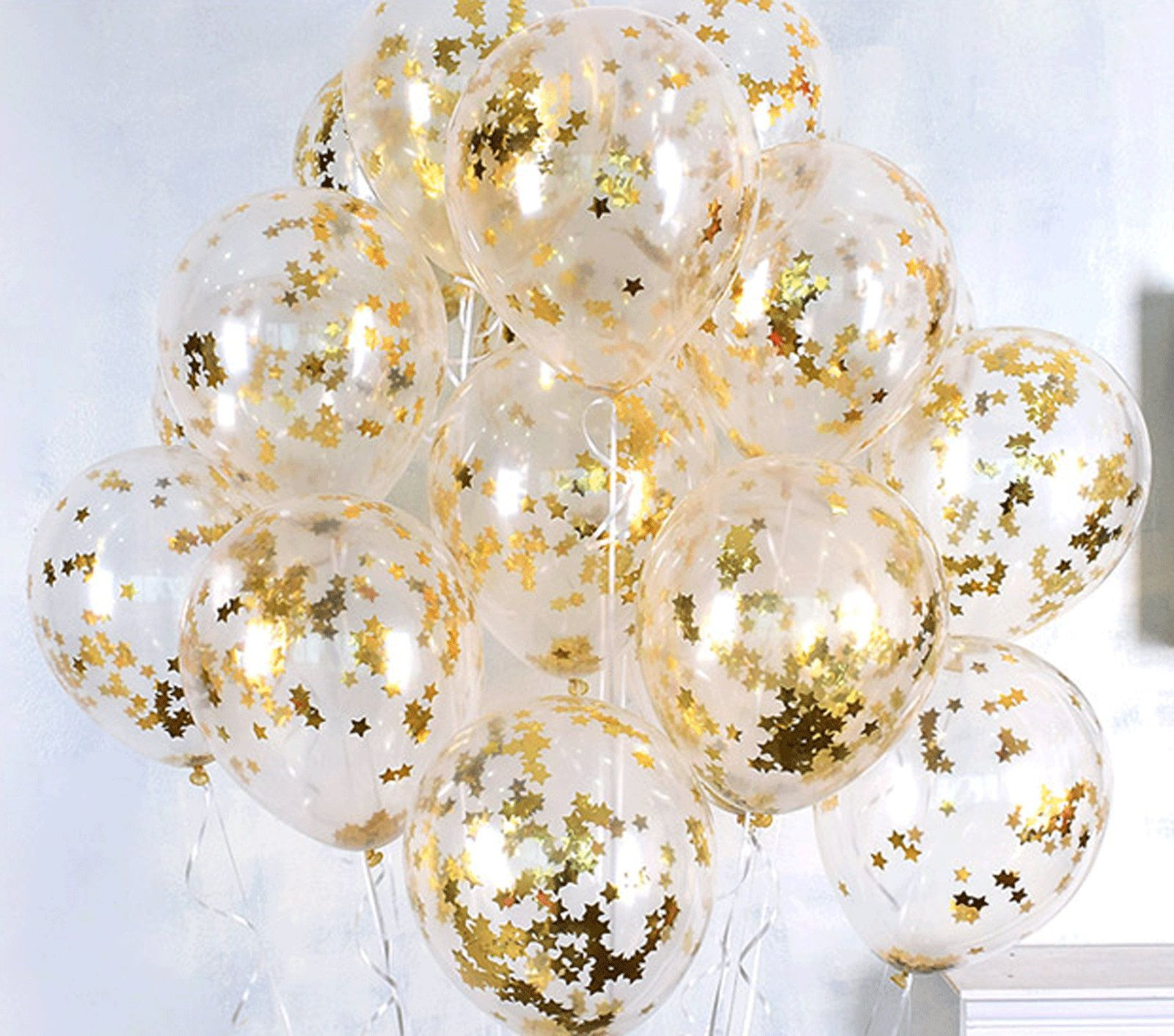 10X Clear Balloons Gold Star foil Confetti Transparent Balloons Happy Birthday Baby shower Wedding Party Supplies
