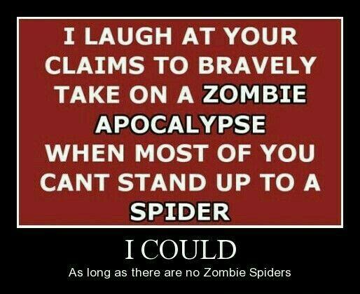 Zombie Apocalypse Spiders Apocalypse Quote Zombie Humor Laugh At Yourself