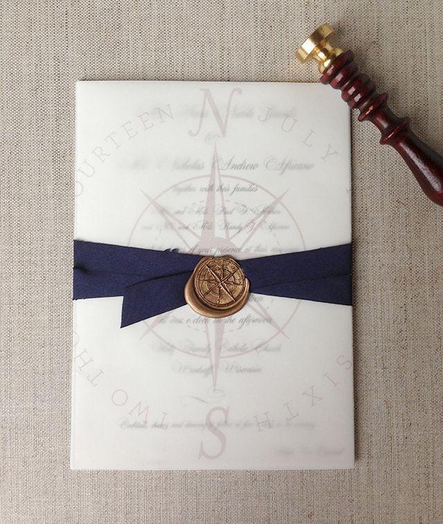 Sarah Drake Design Invitation with wax seal and navy silk ribbon ...