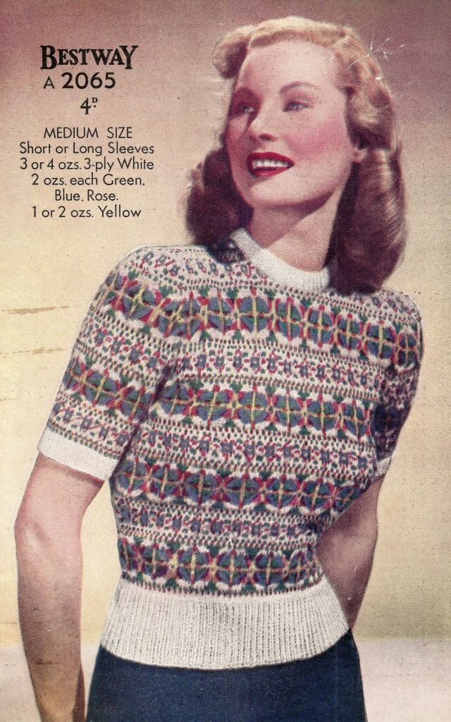 1940 Fair Isle Jumper Vintage Knitting Pattern by knittedcouture