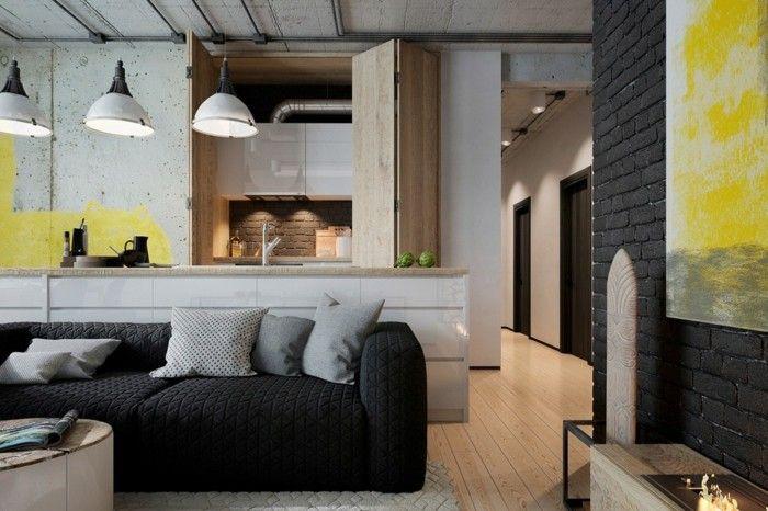 wohnzimmer lampe industriell wohnbereich in grautönen - lampen wohnzimmer design