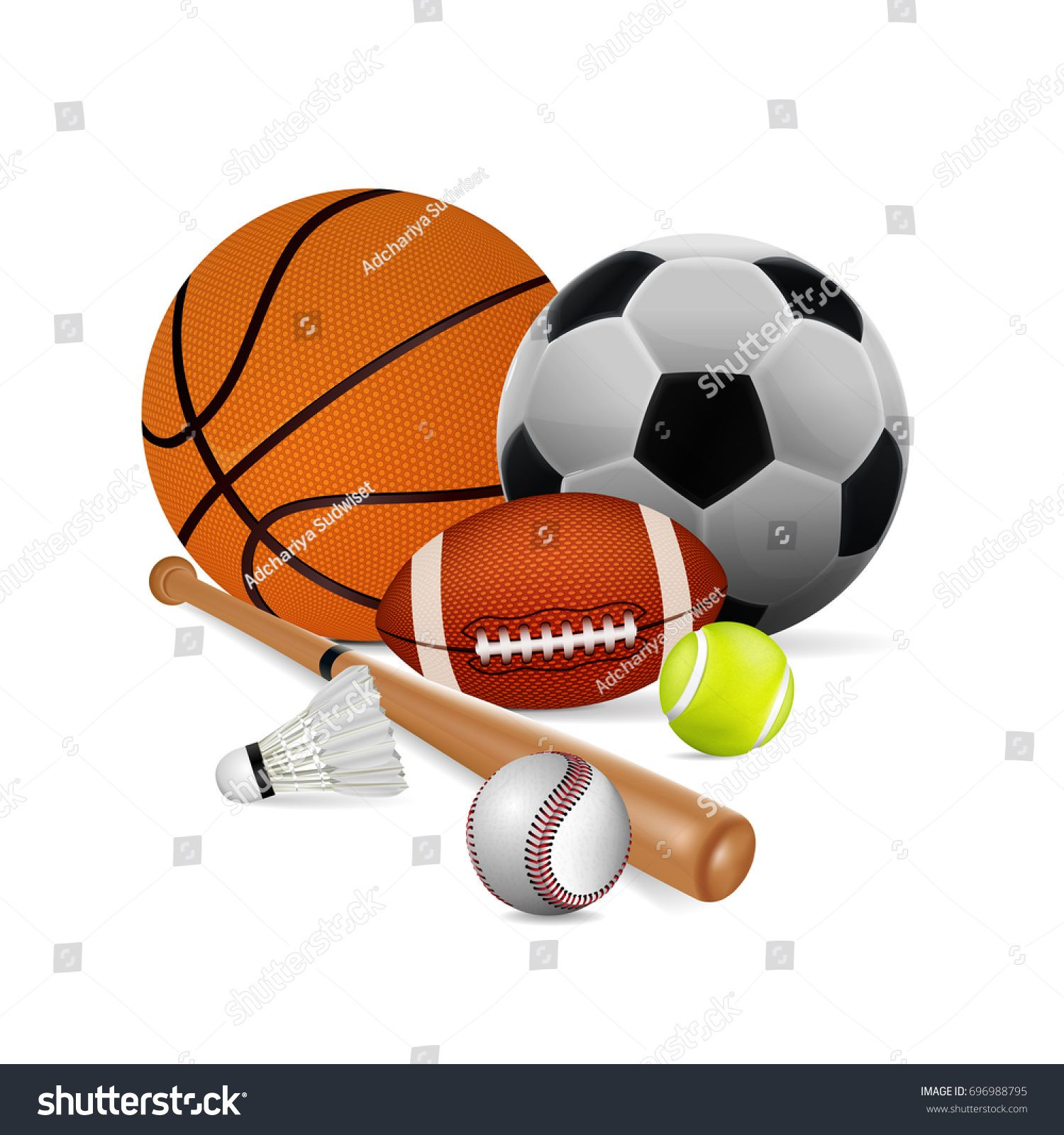 Sports Equipment Basketball Football Tennis Rugby Badminton And Baseball Isolated On White Background Vector Illustration Sports Equipment Sports Rugby