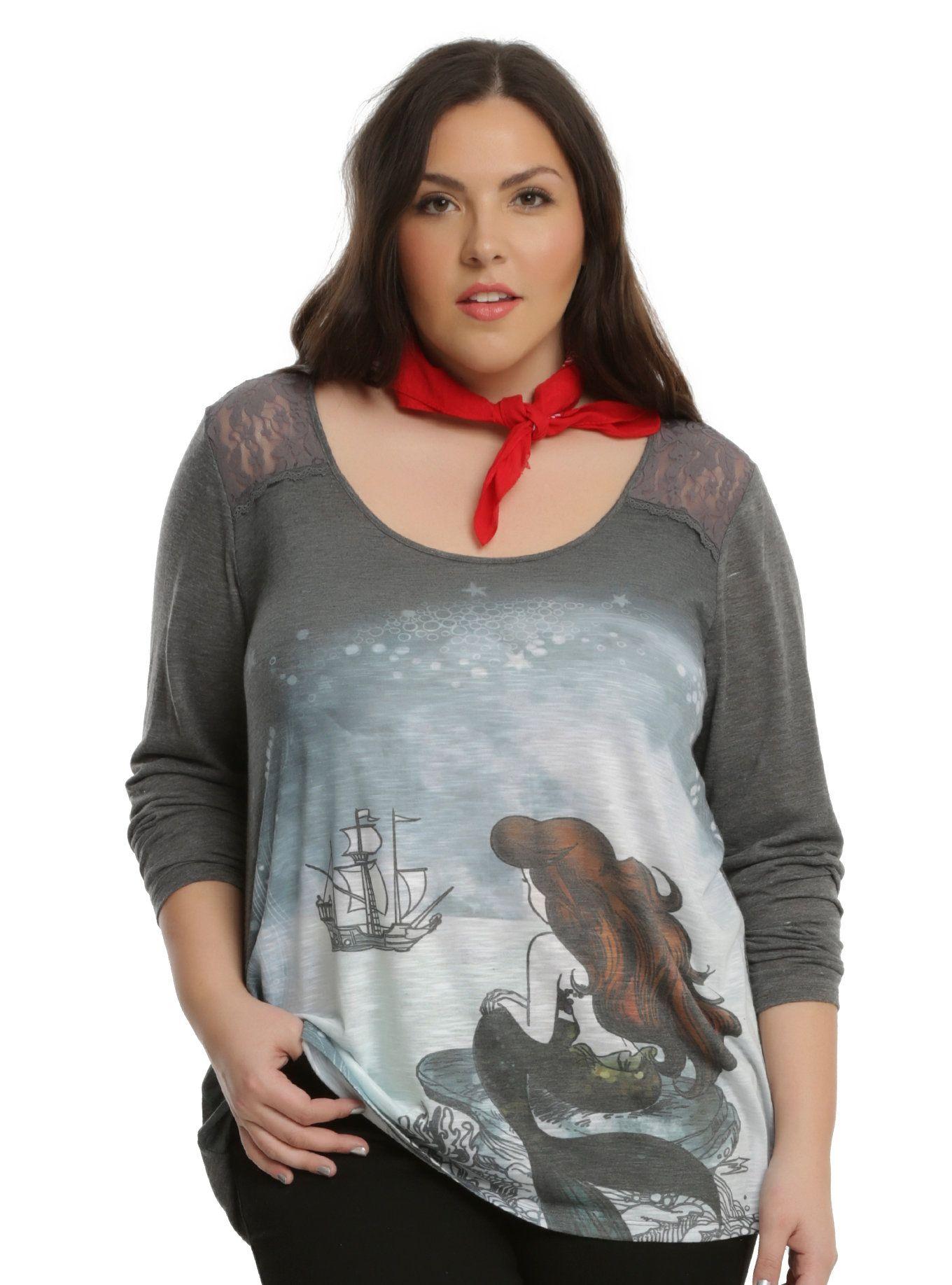 fb33f3df71c3c Disney The Little Mermaid Ariel Long-Sleeve Girls Top Plus Size ...