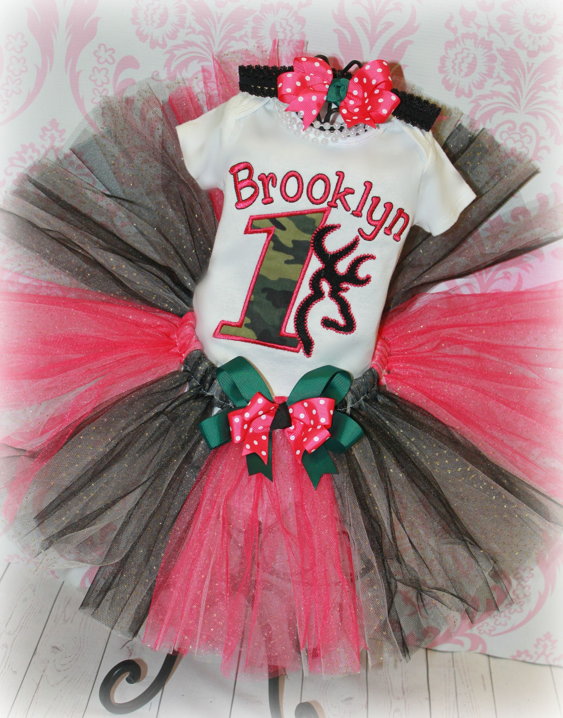 c04a20a7187ad2 Browning Camo Deer Head Girls Pink Birthday Tutu Outfit