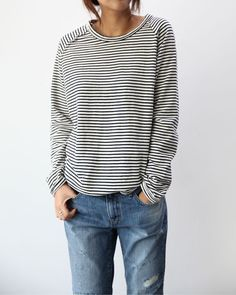 Striped shirt & oversized denim