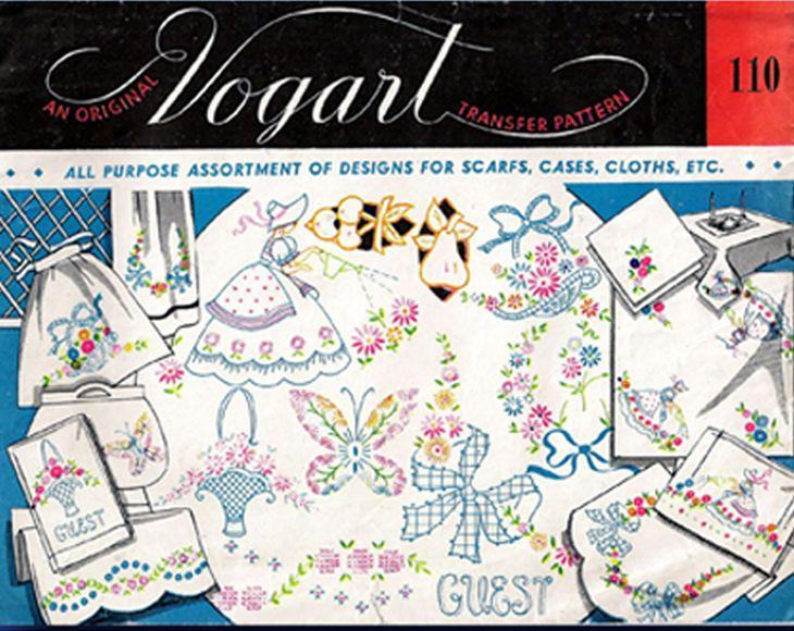 1950s VTG Vogart Embroidery Transfer 110 Uncut Garden Girl & More ...