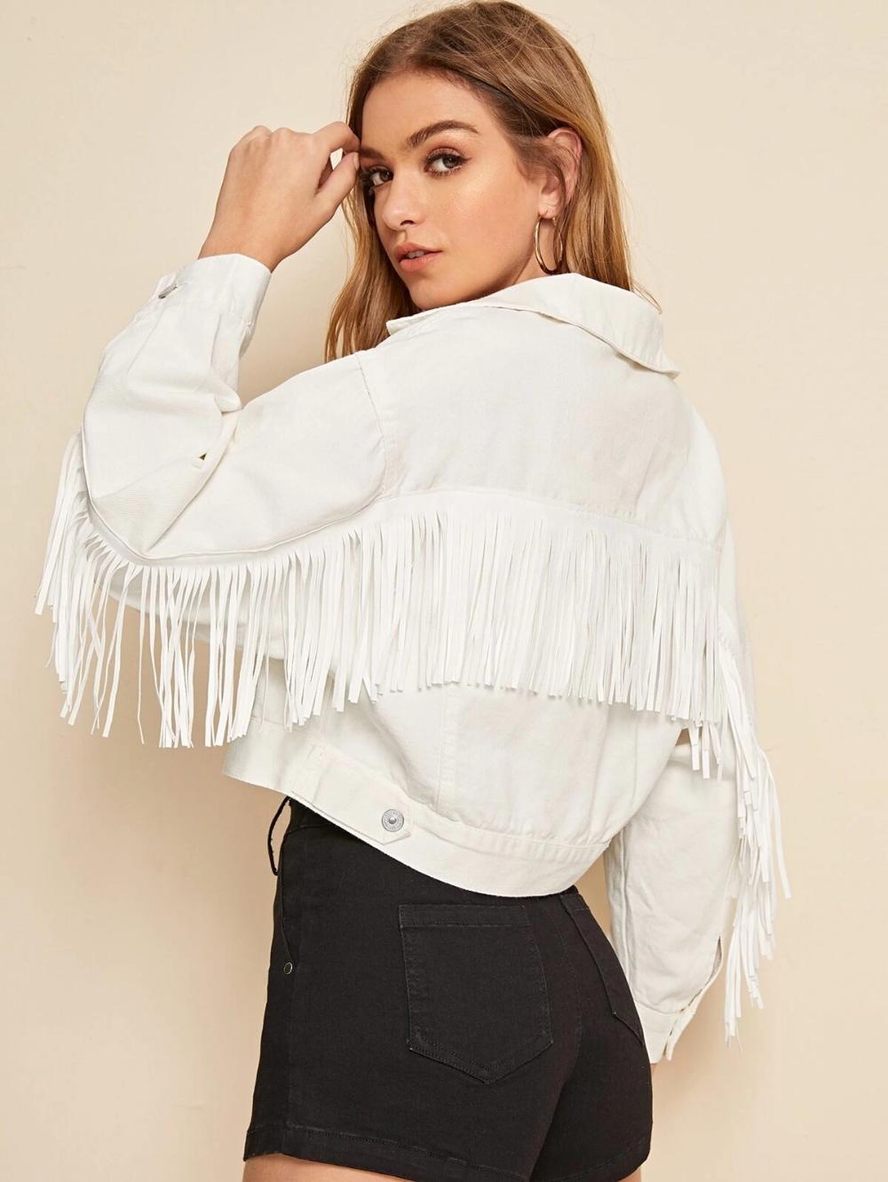 White Wash Fringe Detail Denim Jacket in 2020 Fringe
