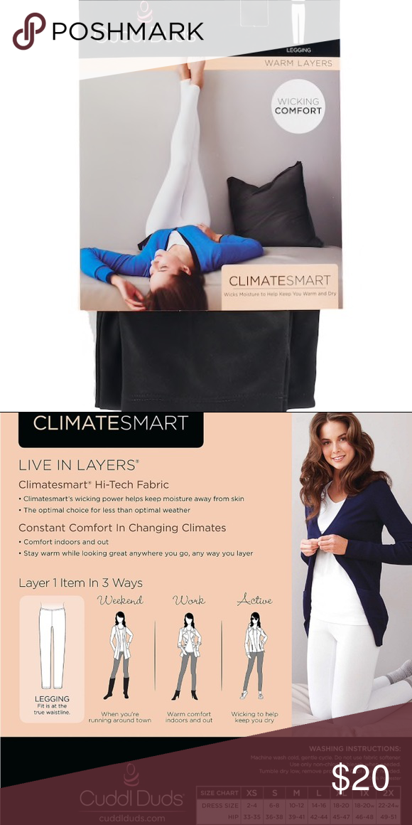 94a22273cdd5a Cuddl Duds Climatesmart Leggings Brand new in packaging with hanger! Small  tear in top of packaging. Cuddl Duds Pants Leggings