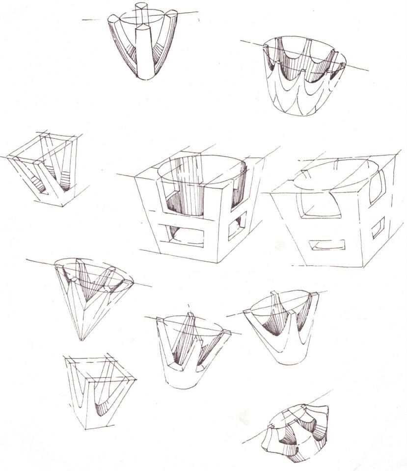 Pen sketches of setting styles for jewellery by Hamish