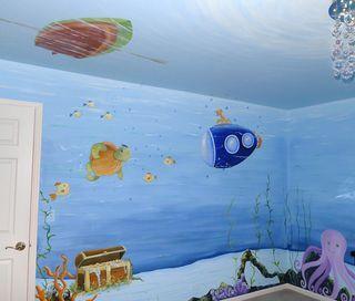 Underwater Fish Nursery Mural Great Baby Boy Decorating