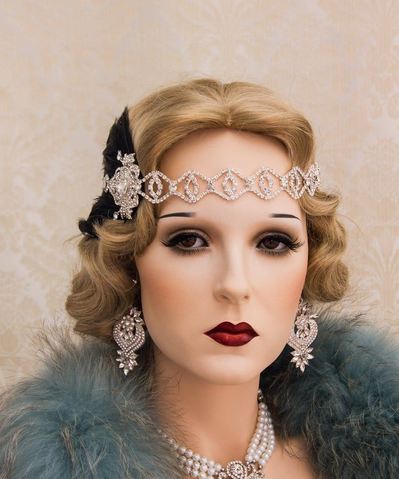 Rhinestone 1920s Roaring Flapper Headbands, Great Gatsby Headpiece, Feather Headband, Art Deco Weding Hair Accessories #1920smakeup