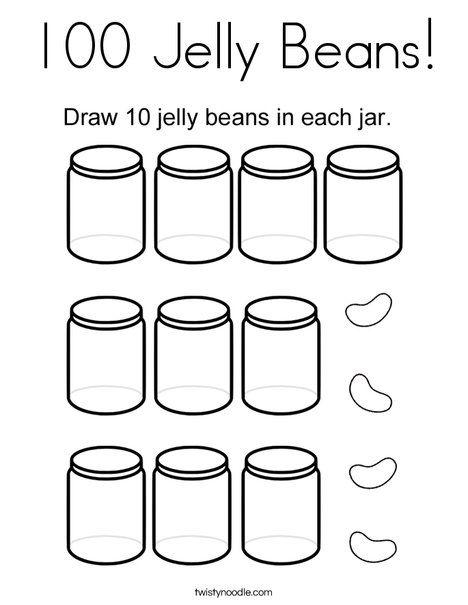100 Jelly Beans Coloring Page - Twisty Noodle | 100th Day of School ...