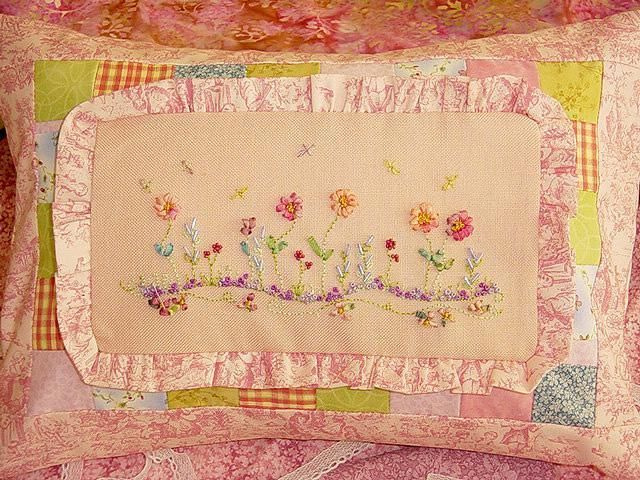 Pink Ribbon Embroidery Flower Garden Ribbon Embroidery Pink