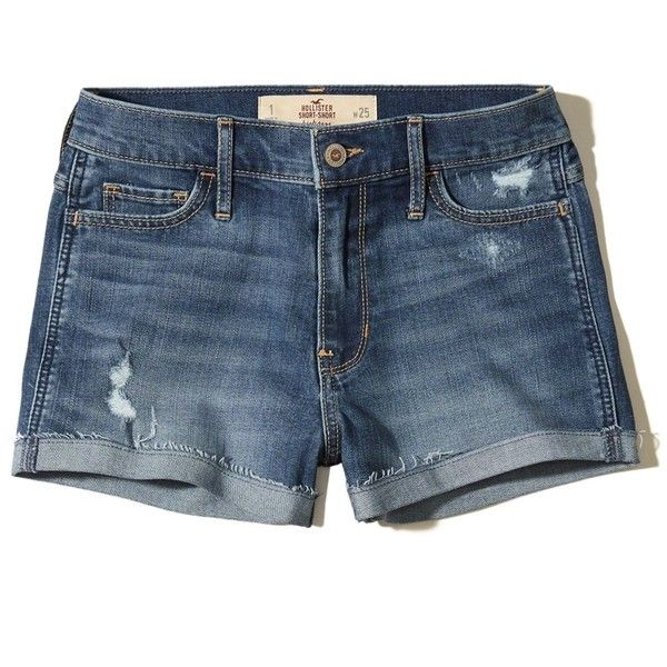 Hollister High-Rise Denim Short-Shorts ($40) ❤ liked on Polyvore featuring shorts, ripped medium wash, high rise denim shorts, hot pants, high waisted shorts, high-waisted denim shorts and destroyed denim shorts