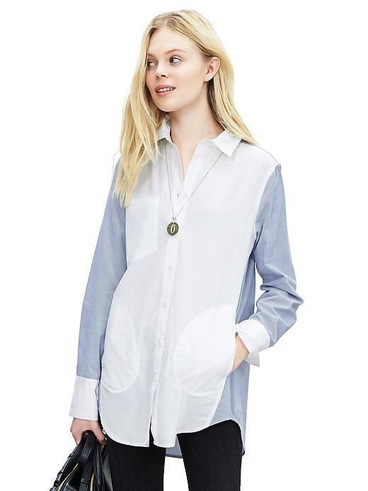 Multi-Pinstripe Boyfriend Shirt Love the pockets!