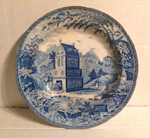 [CasaGiardino]  ♡  ♥  ♡  Soup Plate c1820 Colossal Sarcophagus Nr Castle Rosso Maker Unknown