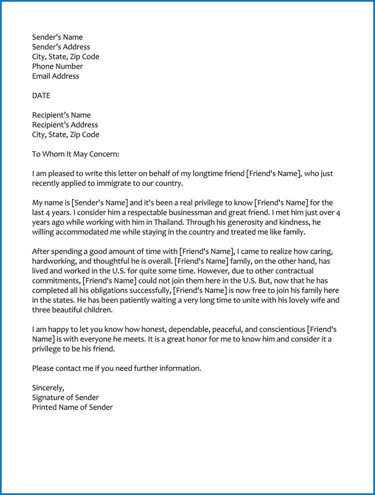 42+ Immigration reference letter for a friend ideas in 2021