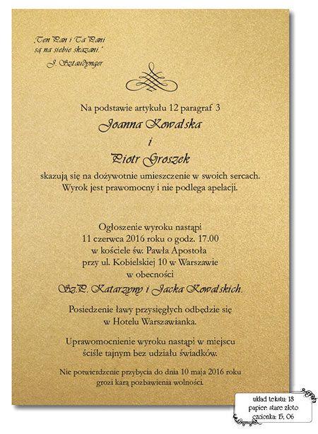 Zaproszenia ślubne Teksty Papier W 2019 Invitations Wedding I