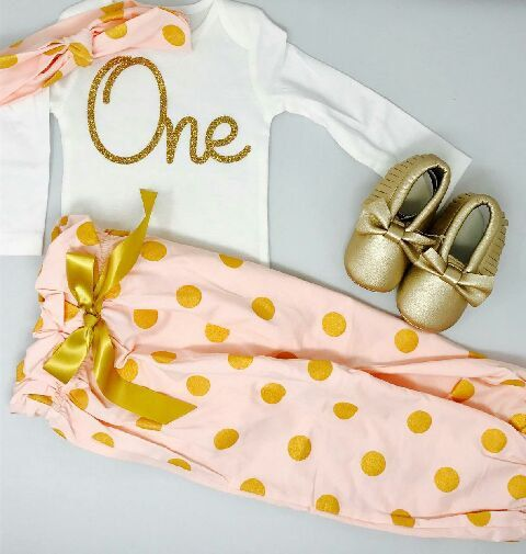 93cb2aa40 Pink and gold outfit with Polka Dot Pants | 1st Birthday Girl | First  Birthday Girl Outfit with Gold Shoes by BespokedCo on Etsy