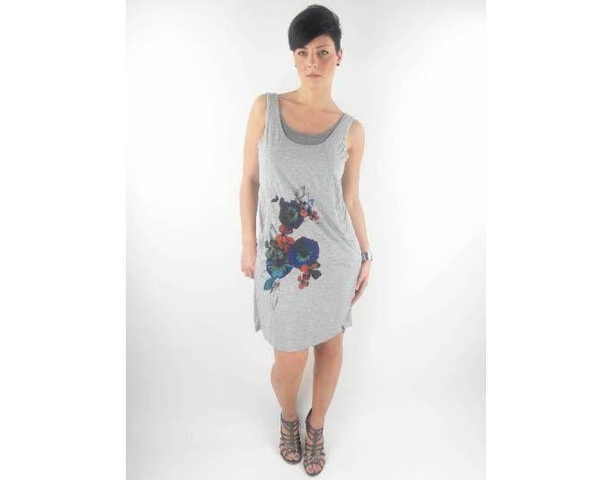 original O´Neill Kleid Dress Trägerkleid Gr.M Ashley grau Blumen ...